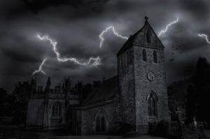 A composite of a church in England.