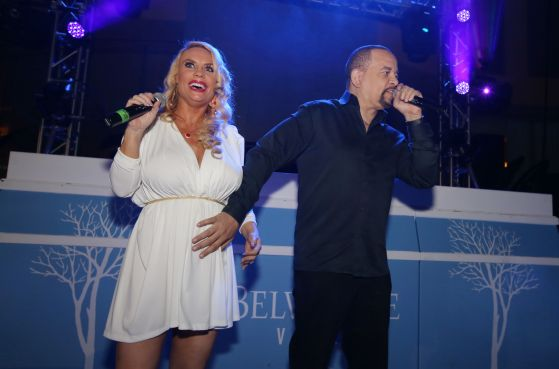 Ice-T And Coco Visit The Pool After Dark at Harrah's Resor