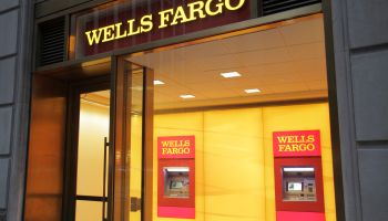 The entrance to Wells Fargo Bank.