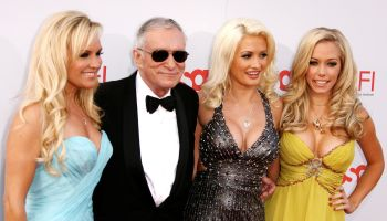 HUGH HEFNER AND GIRLS AT THE AFI AWARDS
