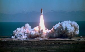 Space Shuttle Challenger Blasting off into Sky