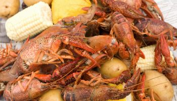 Crawfish, potatoes, and corn