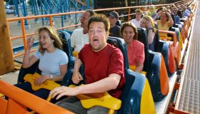 Matthew Perry Rides Coasters at Six Flags