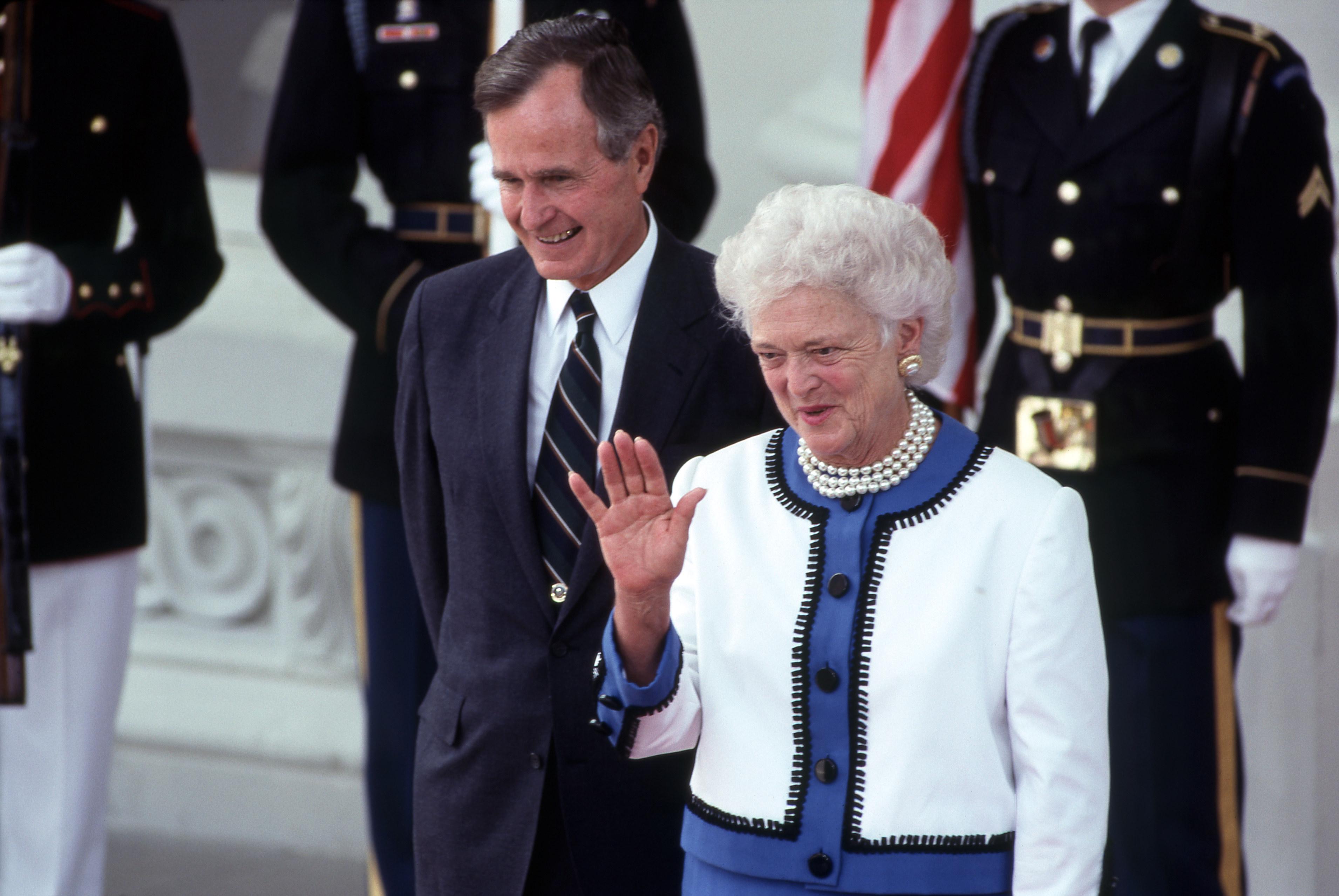President George HW Bush, First Lady Barbara Bush At Bush/Gorbachev Summit