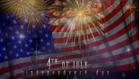 Independence day concept, Multicolor Fireworks Celebrate over the United state of America USA flag background