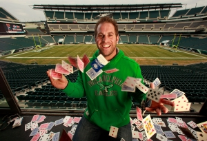 Philadelphia Eagles player Jon Dorenbos is not only a talented long–snapper, but a magician. Quick