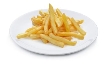 Close-Up Of French Fries In Plate Against White Background