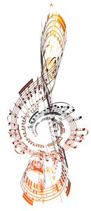 A Treble clef made from sheet music