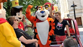 Breakfast Bus Tour of London with Summer Sanders and Kellogg's Mascots