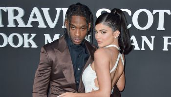 Rapper Travis Scott and girlfriend/television personality Kylie Jenner arrive at the Los Angeles Premiere Of Netflix's 'Travis Scott: Look Mom I Can Fly' held at Barker Hangar on August 27, 2019 in Santa Monica, Los Angeles, California, United States.