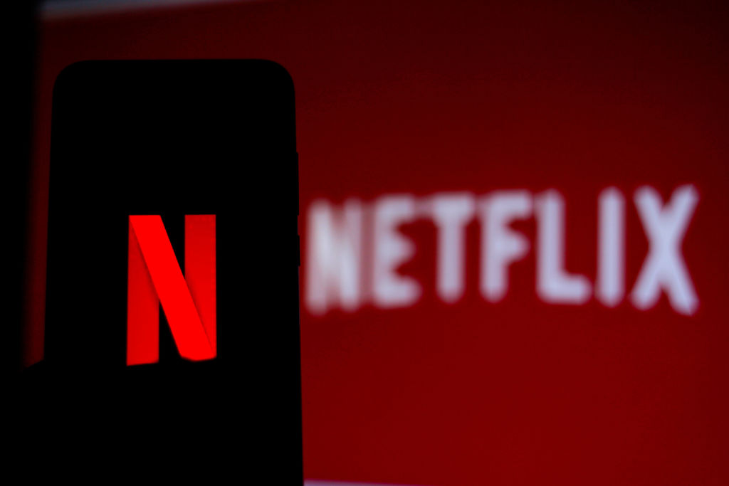 In this photo illustration the Netflix logo is seen...