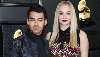 Joe Jonas and wife Sophie Turner arrive at the 62nd Annual GRAMMY Awards held at Staples Center on January 26, 2020 in Los Angeles, California, United States.