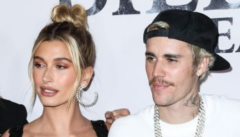 Hailey Rhode Baldwin Bieber and Justin Bieber arrive at the Los Angeles Premiere Of YouTube Originals' 'Justin Bieber: Seasons' held at the Regency Bruin Theatre on January 27, 2020 in Westwood, Los Angeles, California, United States.